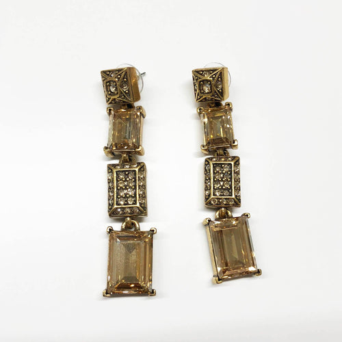 Oscar De La Renta Gold Cube Crystal Dangle Earrings