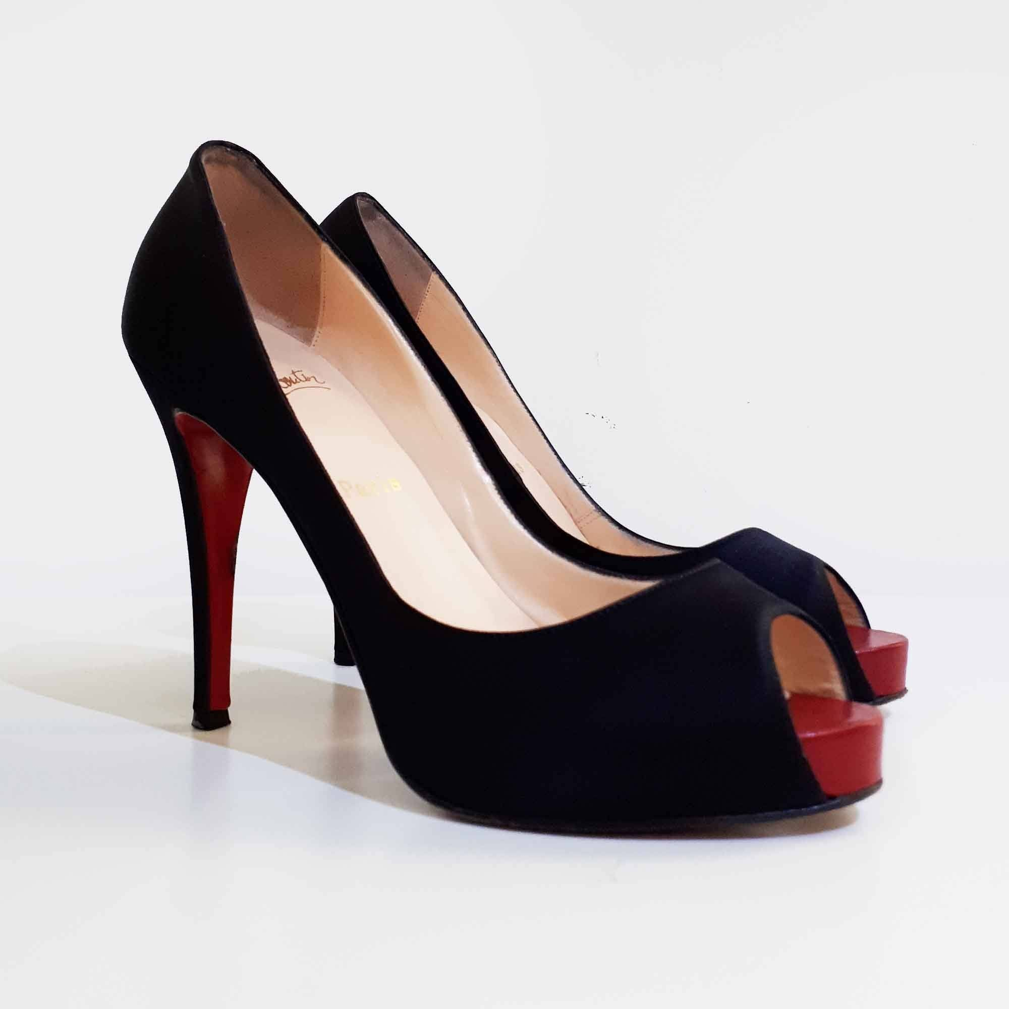 Christian Louboutin Black Satin Peep Toe Heels