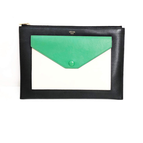Celine Tricolor Envelope Zipped Pouch