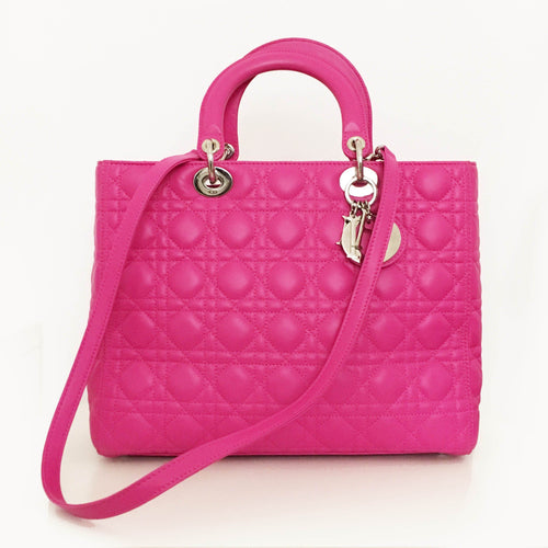 Christian Dior Pink Cannage Leather Lady Dior Tote Bag