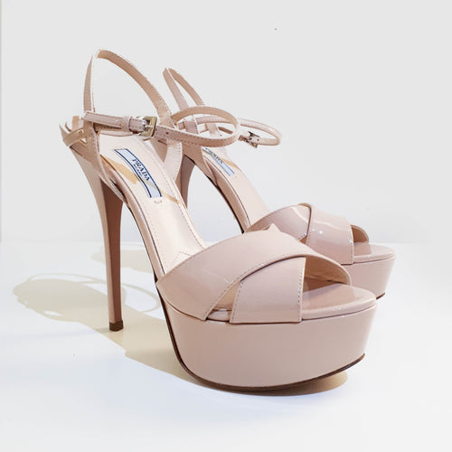 Prada Beige Patent Leather Sandals Heels