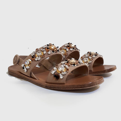 Prada Crystal Embellished Beige Sandals