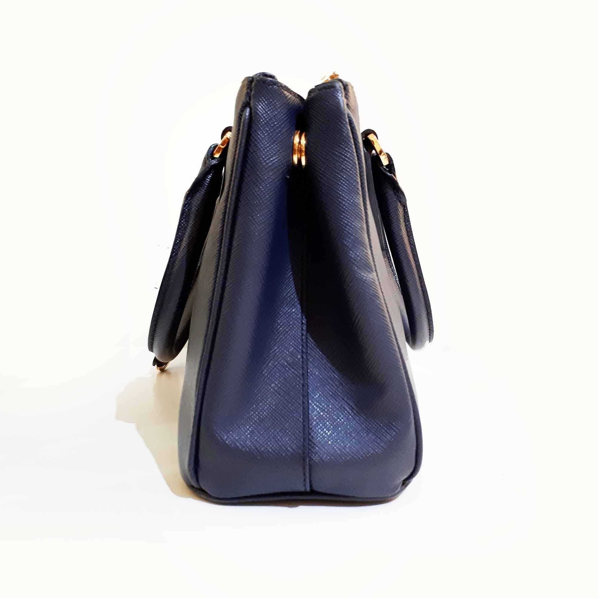 Prada Blue Saffiano Lux Leather Mini Double Zip Tote