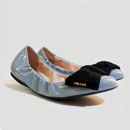 Prada Light Blue Patent Leather Ballerina