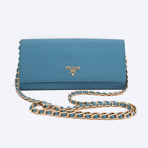 Prada Turquoise Blue Saffiano Metal Leather Wallet on Chain