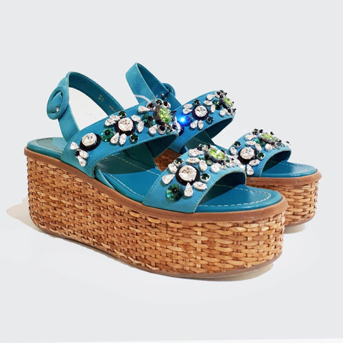 Prada Blue Crystal Embellished Woven Wedge Sandal