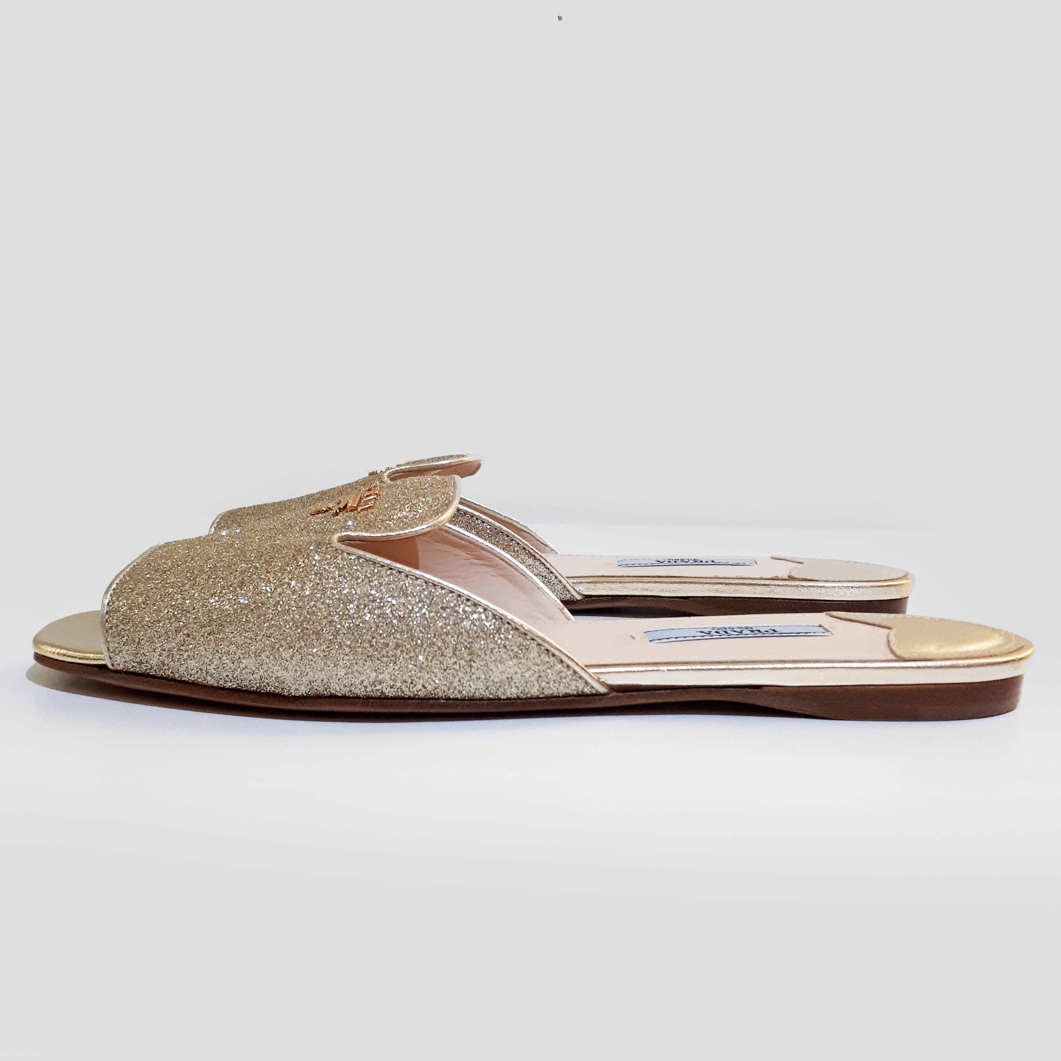 Prada Gold Glitter Slip-On Sandal