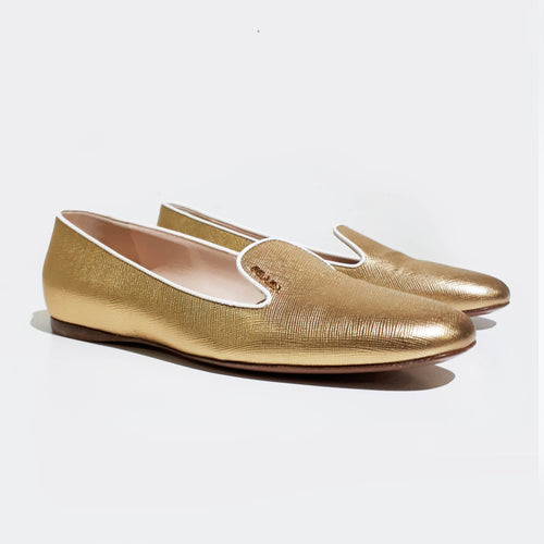 Prada Gold Saffiano Smoking Slippers