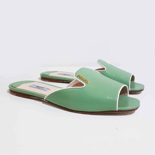 Prada Green Saffiano Leather Slip-On Sandal
