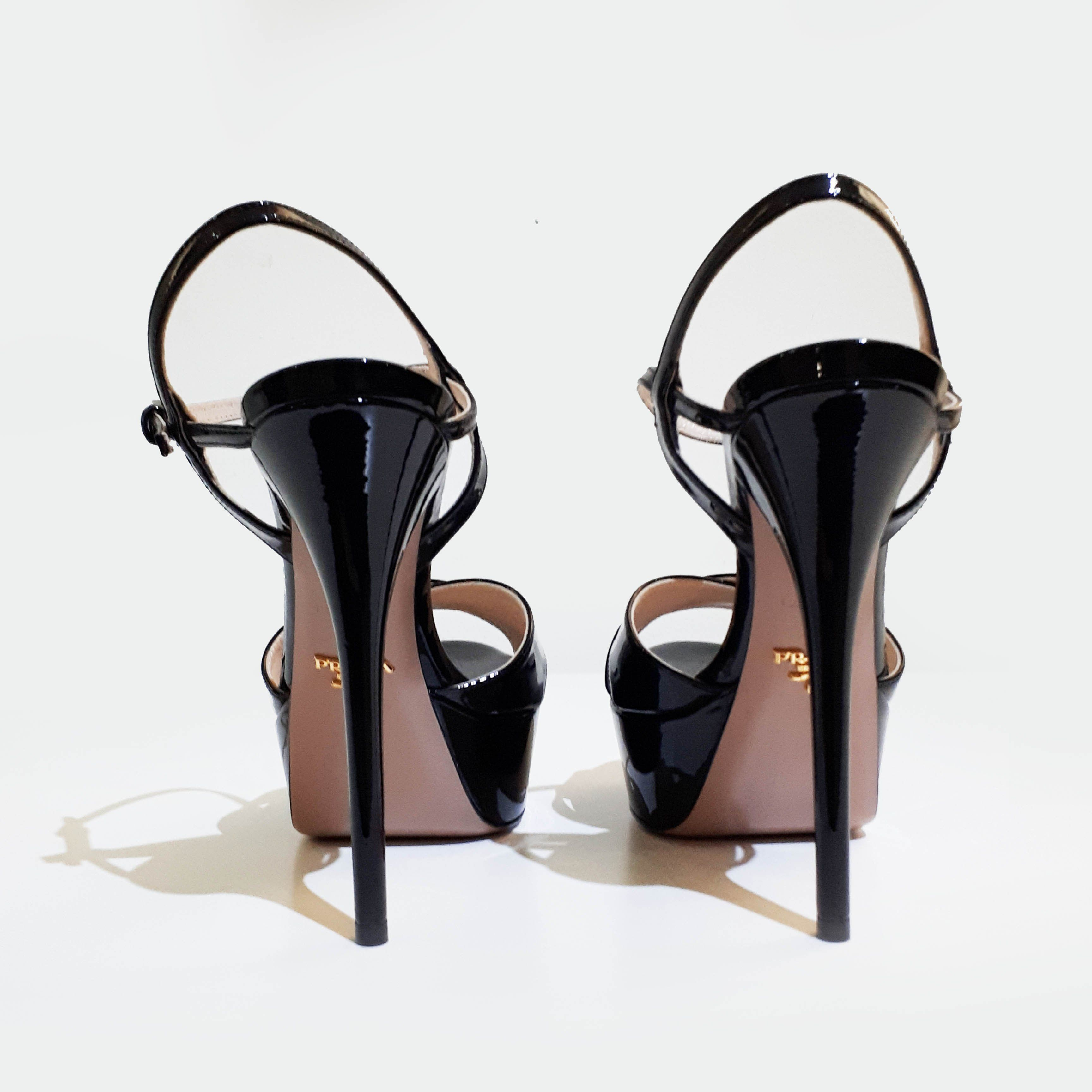 Prada Black Patent Leather Sandals Heels