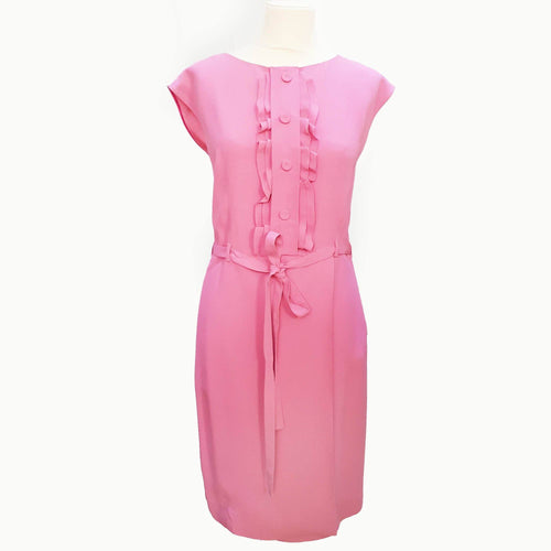 Prada Ruffle Shortsleeve Pink Dress