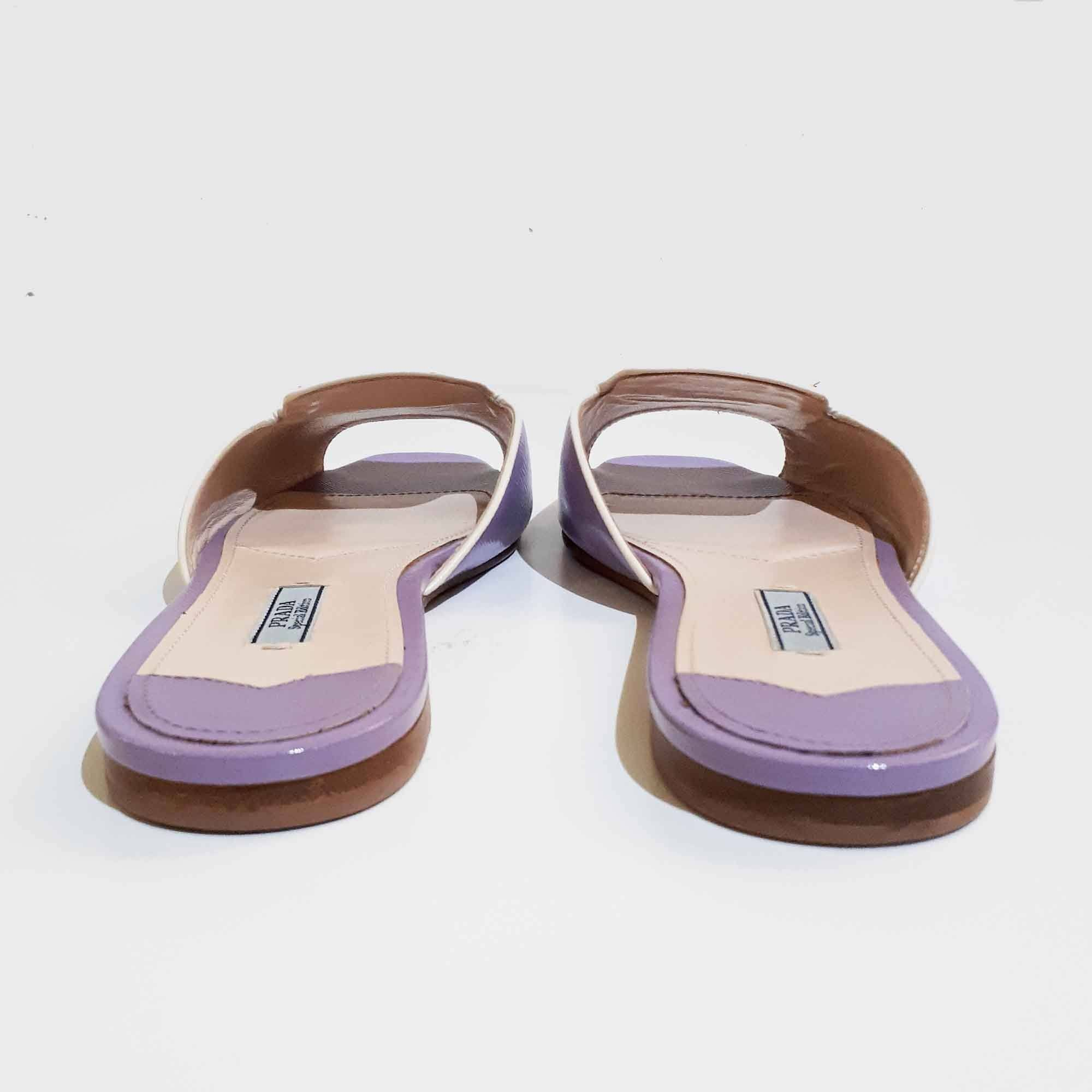 Prada Purple Saffiano Leather Slip-On Sandal