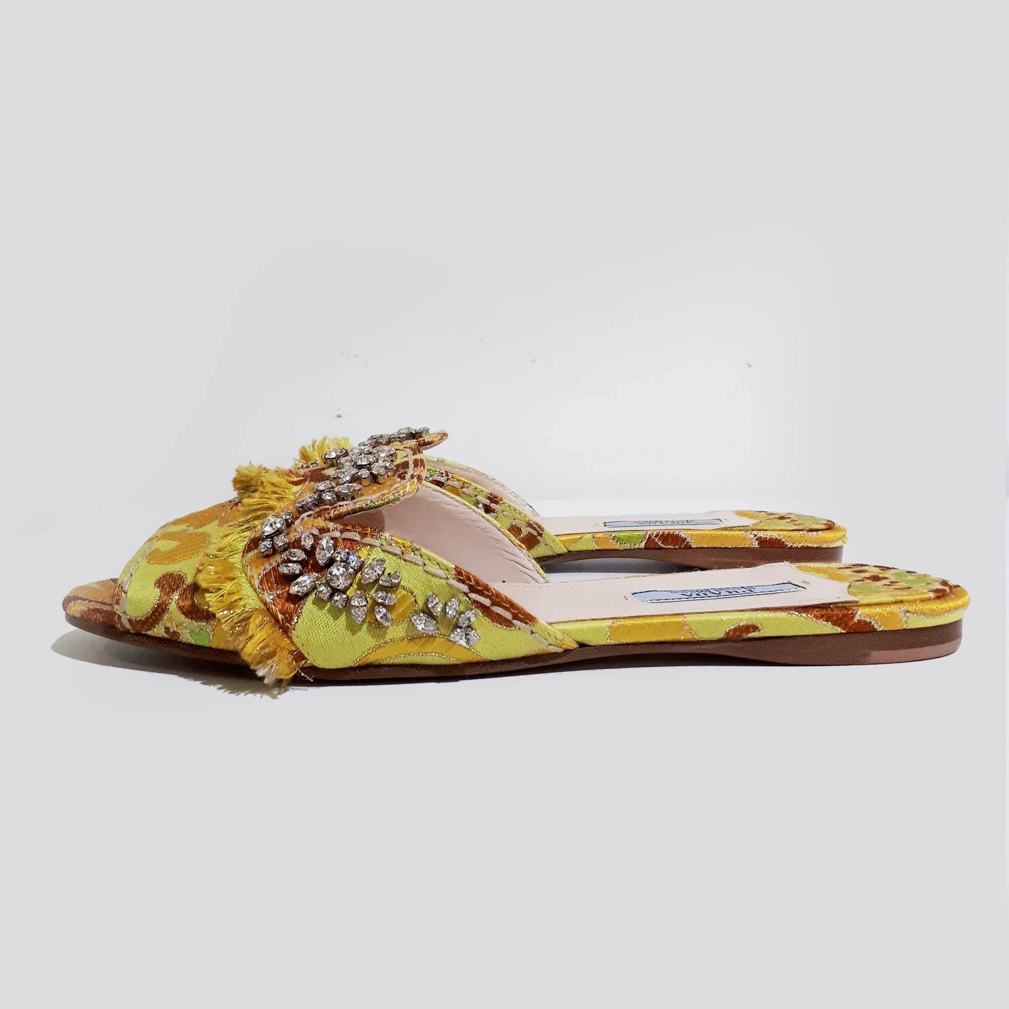 Prada Crystal Embellished Sandals  With Satin Embroidery Details
