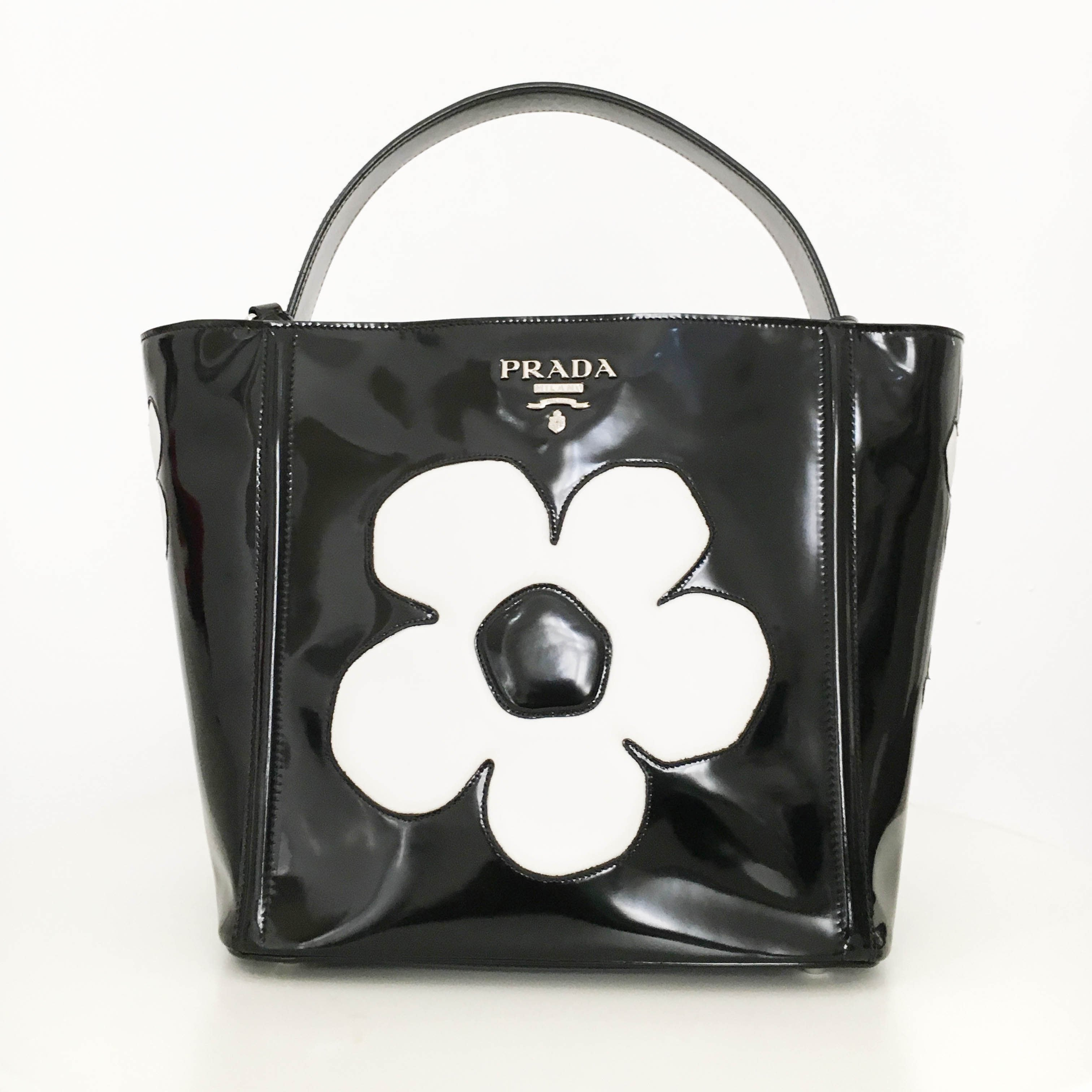 Prada Spazzolato Floral Open Bucket Bag