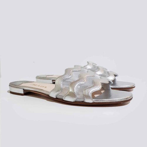 Prada Silver Leather Slip-On Sandal
