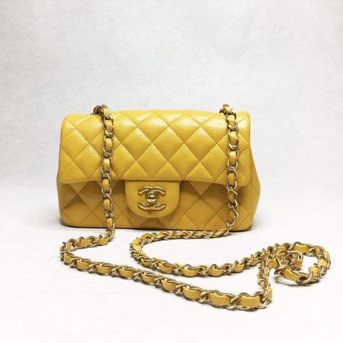 Chanel Mustard Yellow Mini Caviar Flap Bag