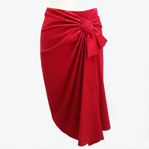 Paule Ka Satin Crepe Knotted Bow Skirt