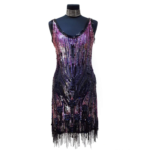 Roberto Cavalli Sequin Fringe Purple and Black Dress