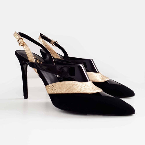Rodo Black and Gold Pointed Toe Slingback Pumps
