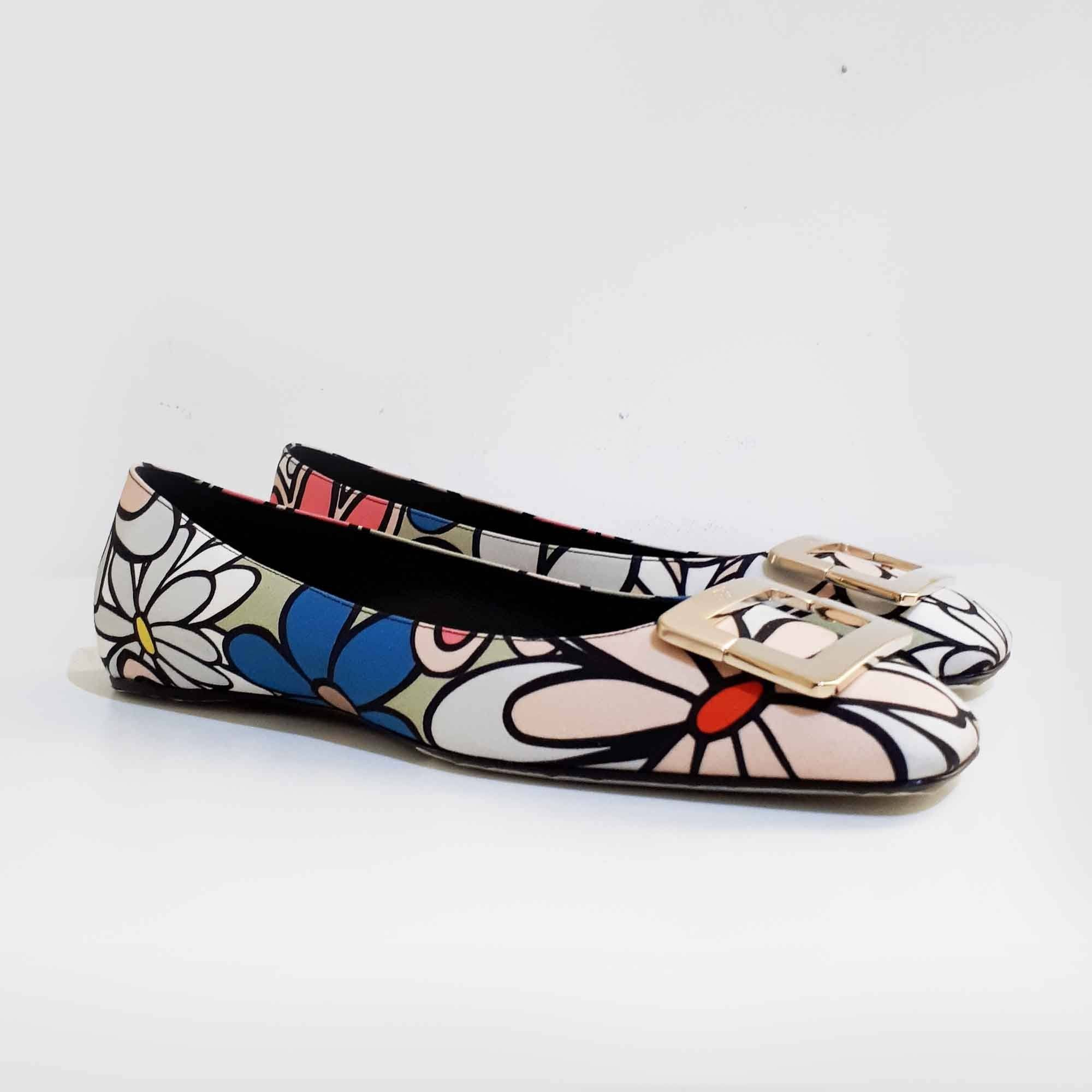 Roger Vivier Square Toe Fabric Ballerinas