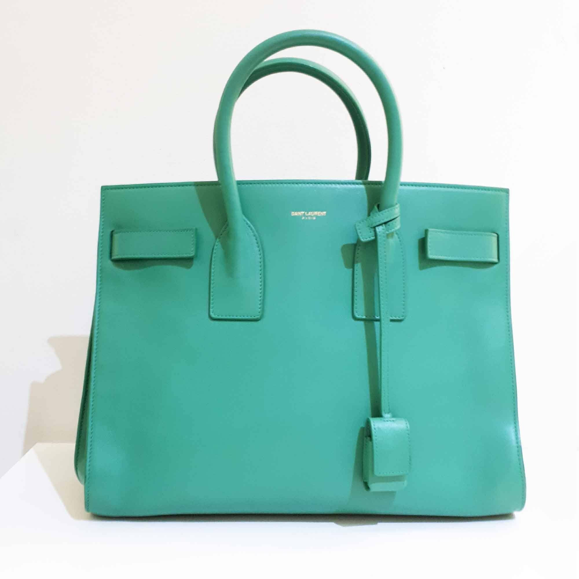 Saint Laurent Mint Green Sac de Jour