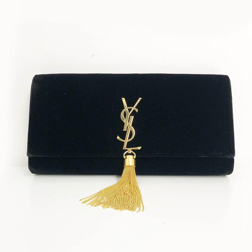 Yves Saint Laurent Velvet Kate Tassel Clutch