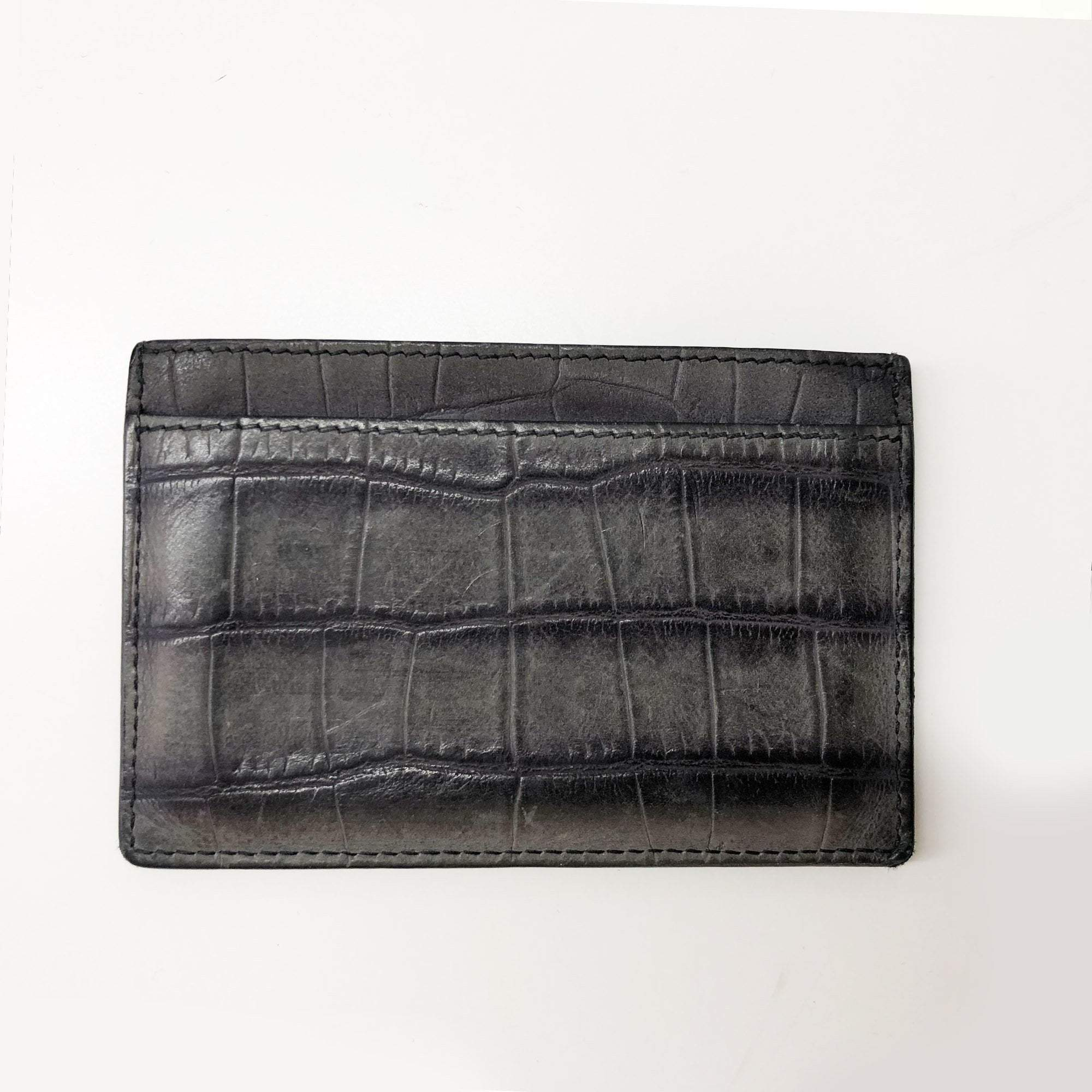 Saint Laurent Croc embossed cardholder