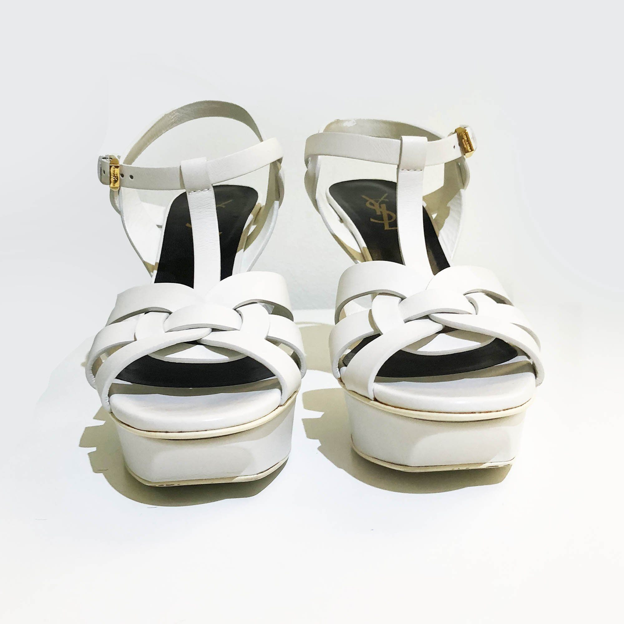 Saint Laurent Tribute White Sandal Heels