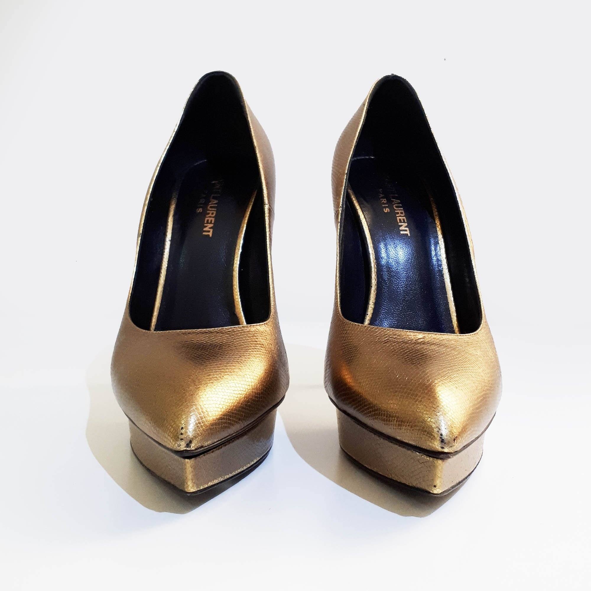 Saint Laurent Gold Platform Pumps