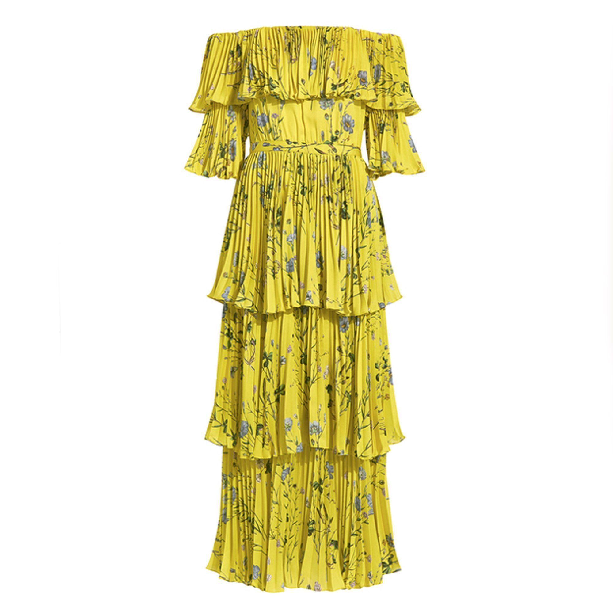 Self-portrait Floral Printed Yellow Off Shoulder Tiered Maxi Dress