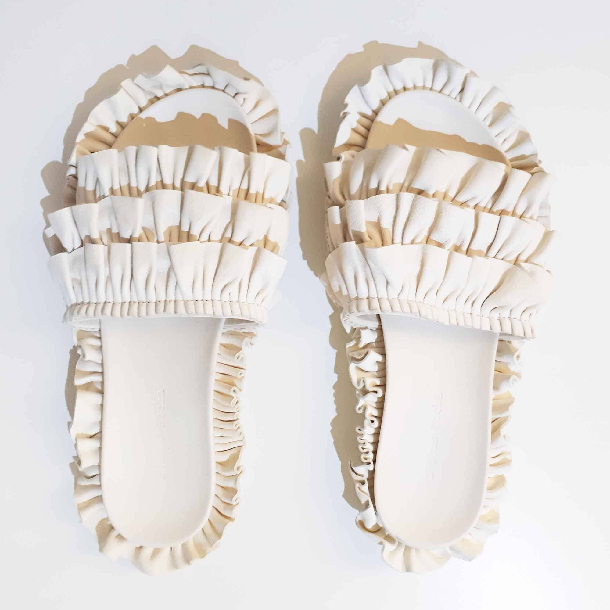 Simone Rocha Ruffled Leather Slides