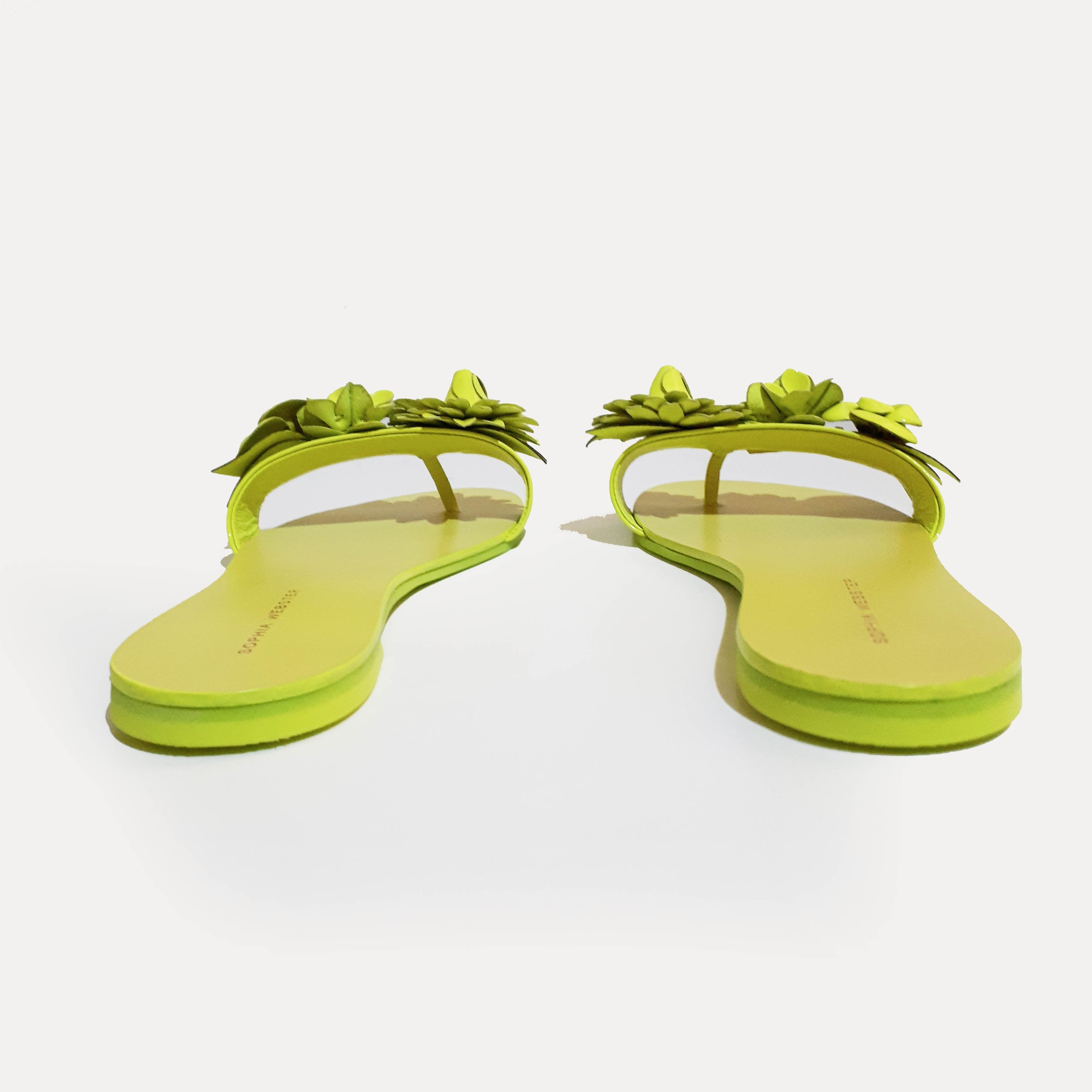Sophia Webster Neon Green Lilico appliquéd leather slides