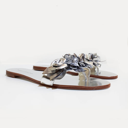 Sophia Webster Silver Lilico appliquéd Leather Slides