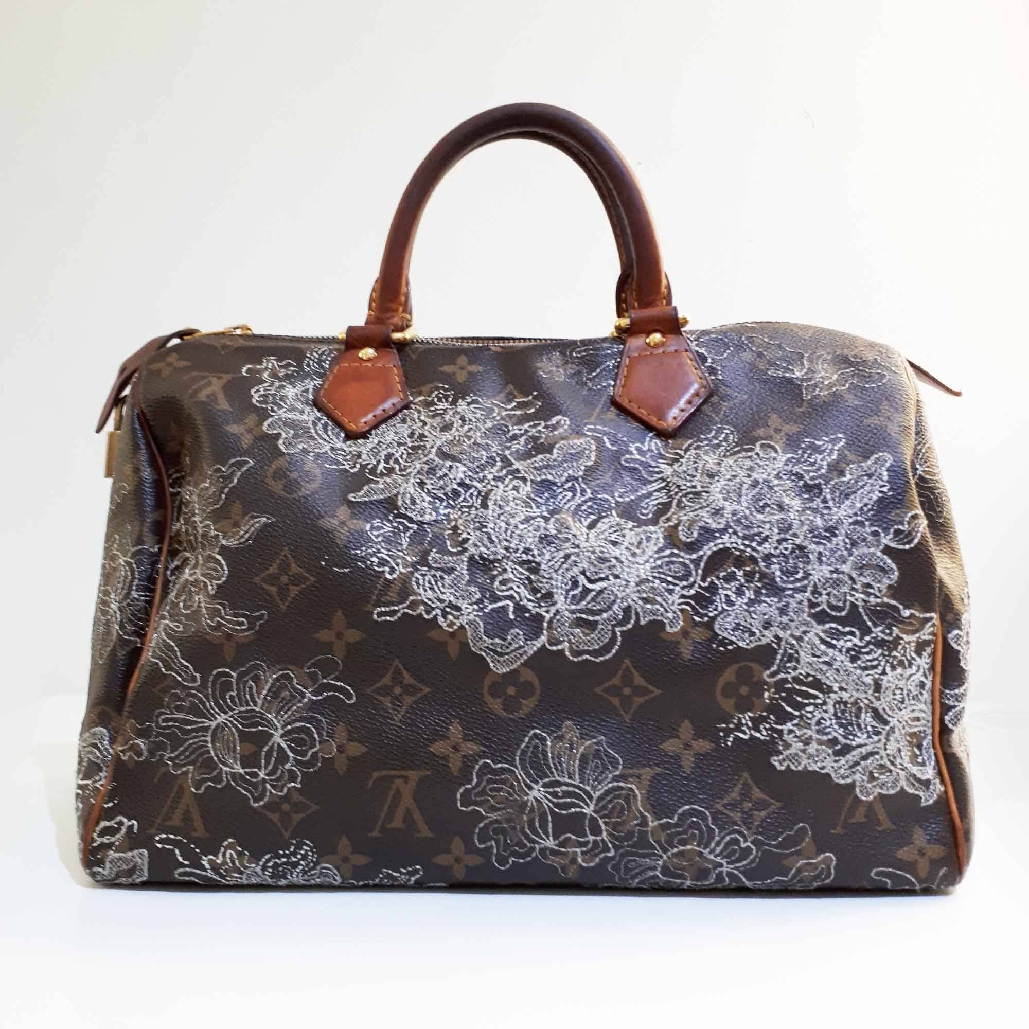 Louis Vuitton Limited Edition Silver Monogram Dentelle Speedy 30