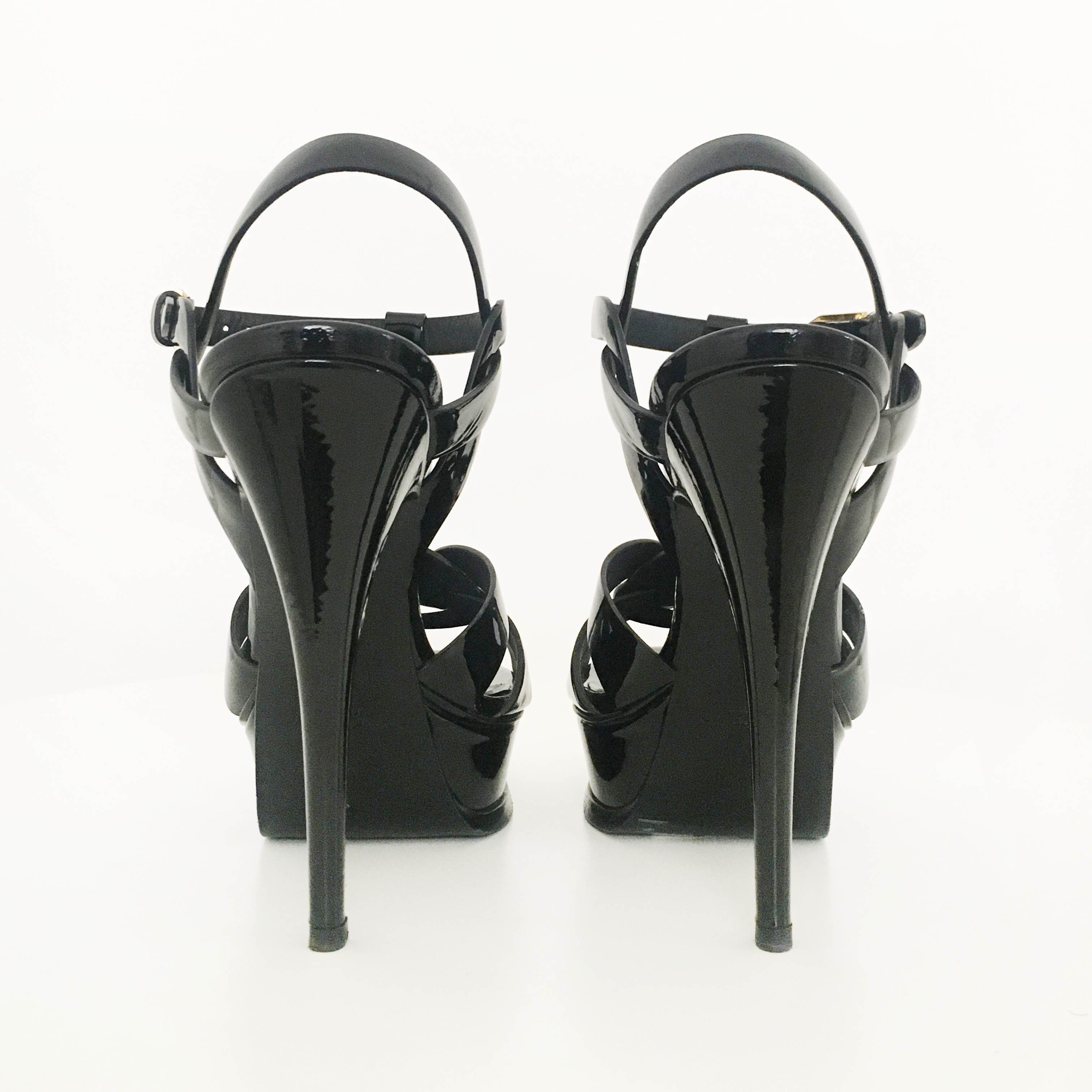 Saint Laurent Tribute Black Sandal Heels
