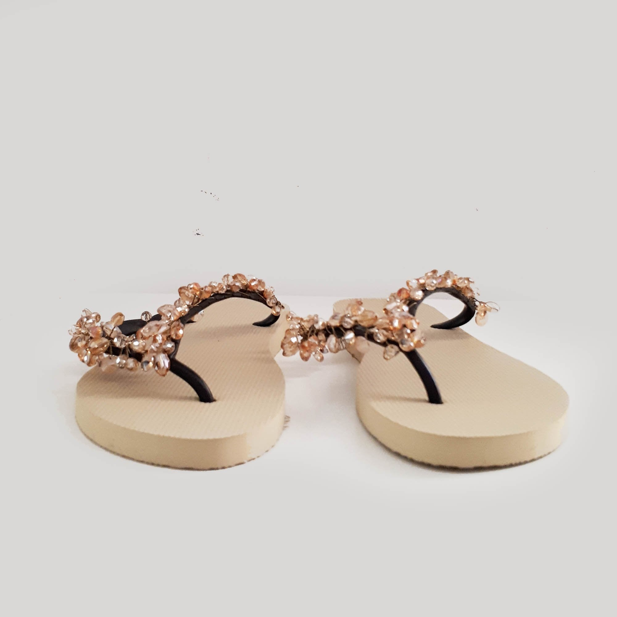 Uzurii Beige Bead Embellished Slippers