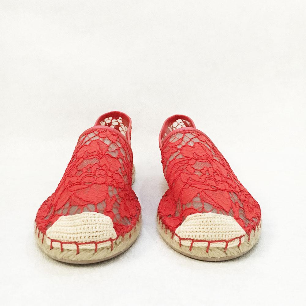 Valentino Red Lace Espadrille