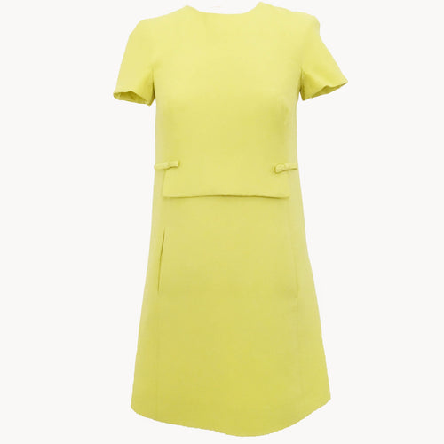 Valentino Yellow Bow Detail Crepe Minidress
