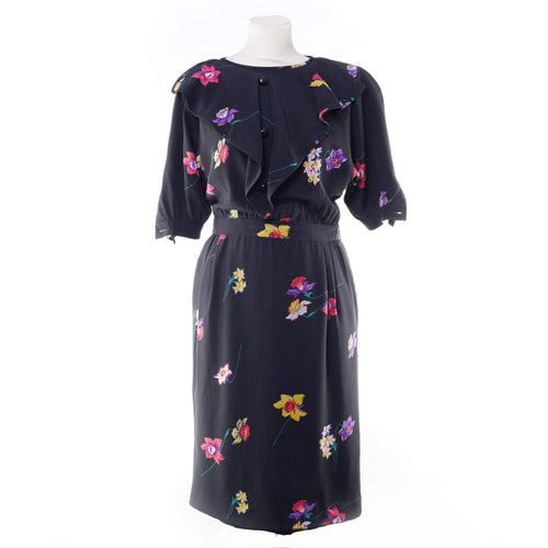 Valentino Floral Print Silk Black Dress