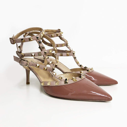 Valentino Garavani  Dusty Pink Patent Leather Rockstud Shoes