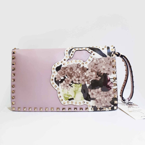 Valentino Rockstud Leather Foldover Clutch