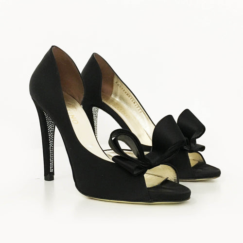 Valentino Satin Diamanté Bow Pumps