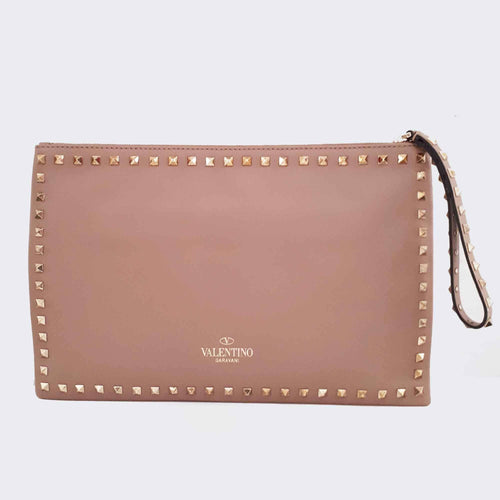 Valentino Rockstud Large Leather Clutch