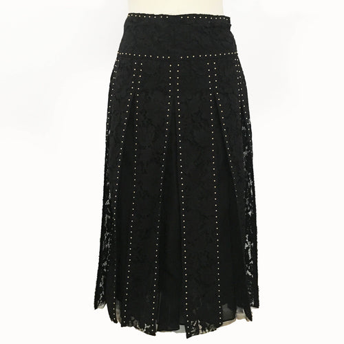 Valentino Black Lace Stud Embellished Paneled Midi Skirt