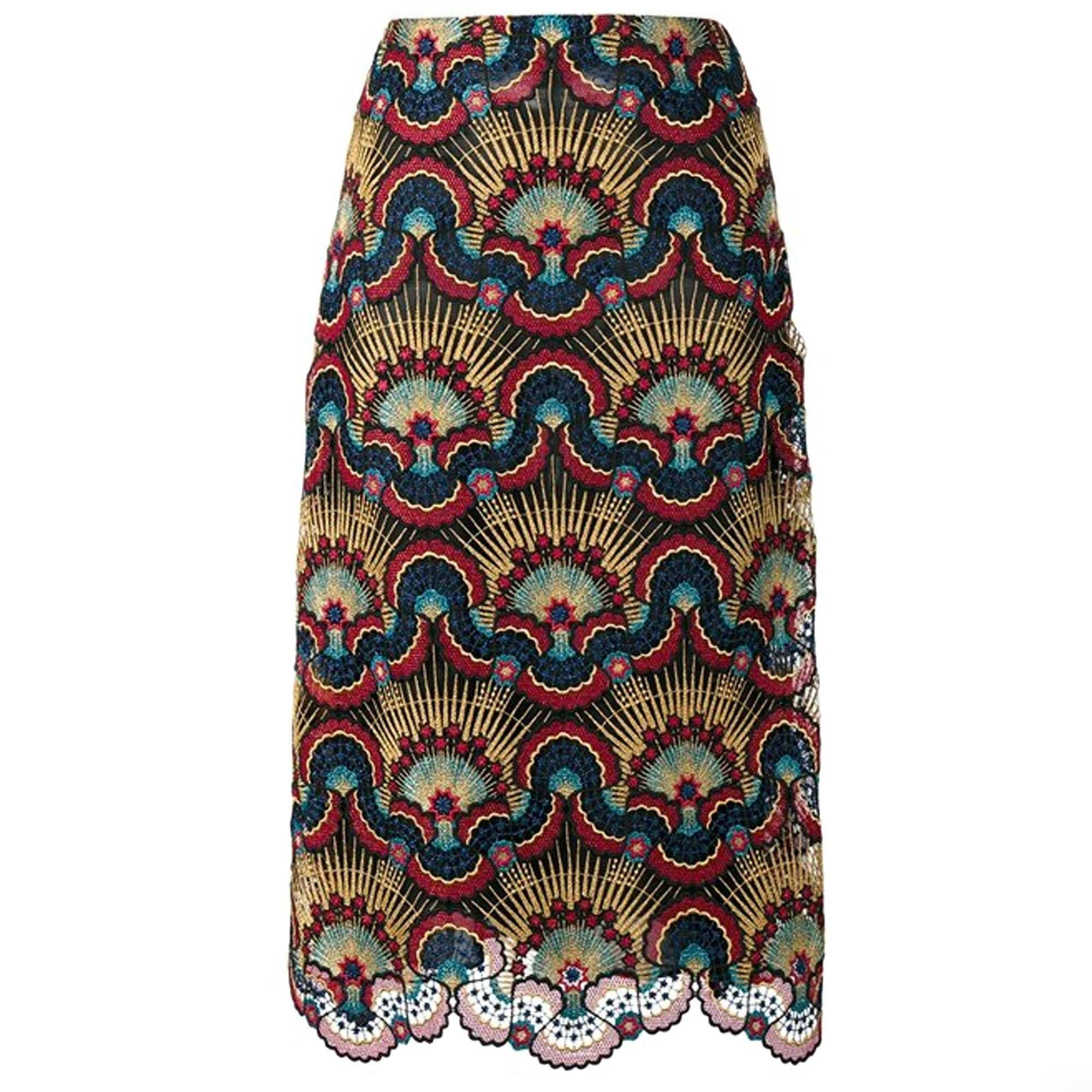 Valentino Enchanted Wonderland Macramé-Lace Midi Skirt