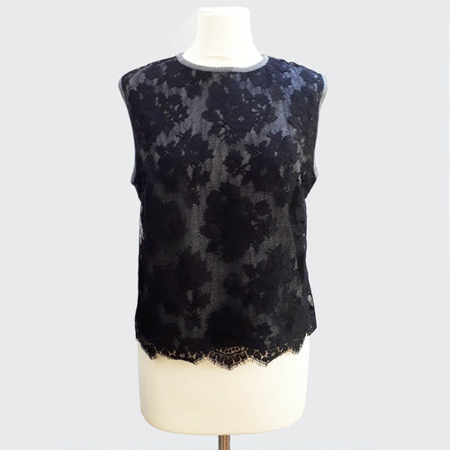 Valentino Sleeveless Lace Sweater Top