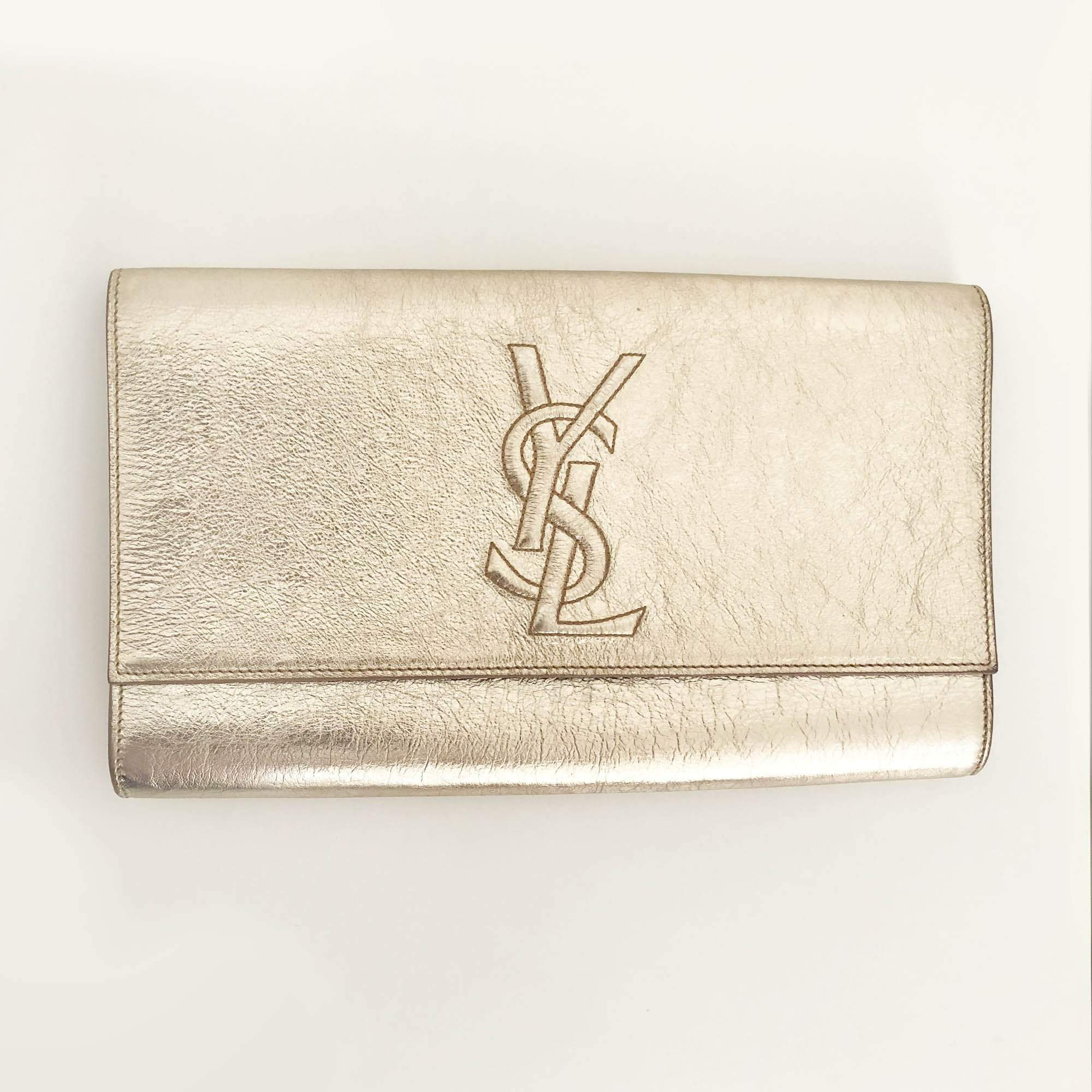 Saint Laurent Gold Textured Leather Clutch