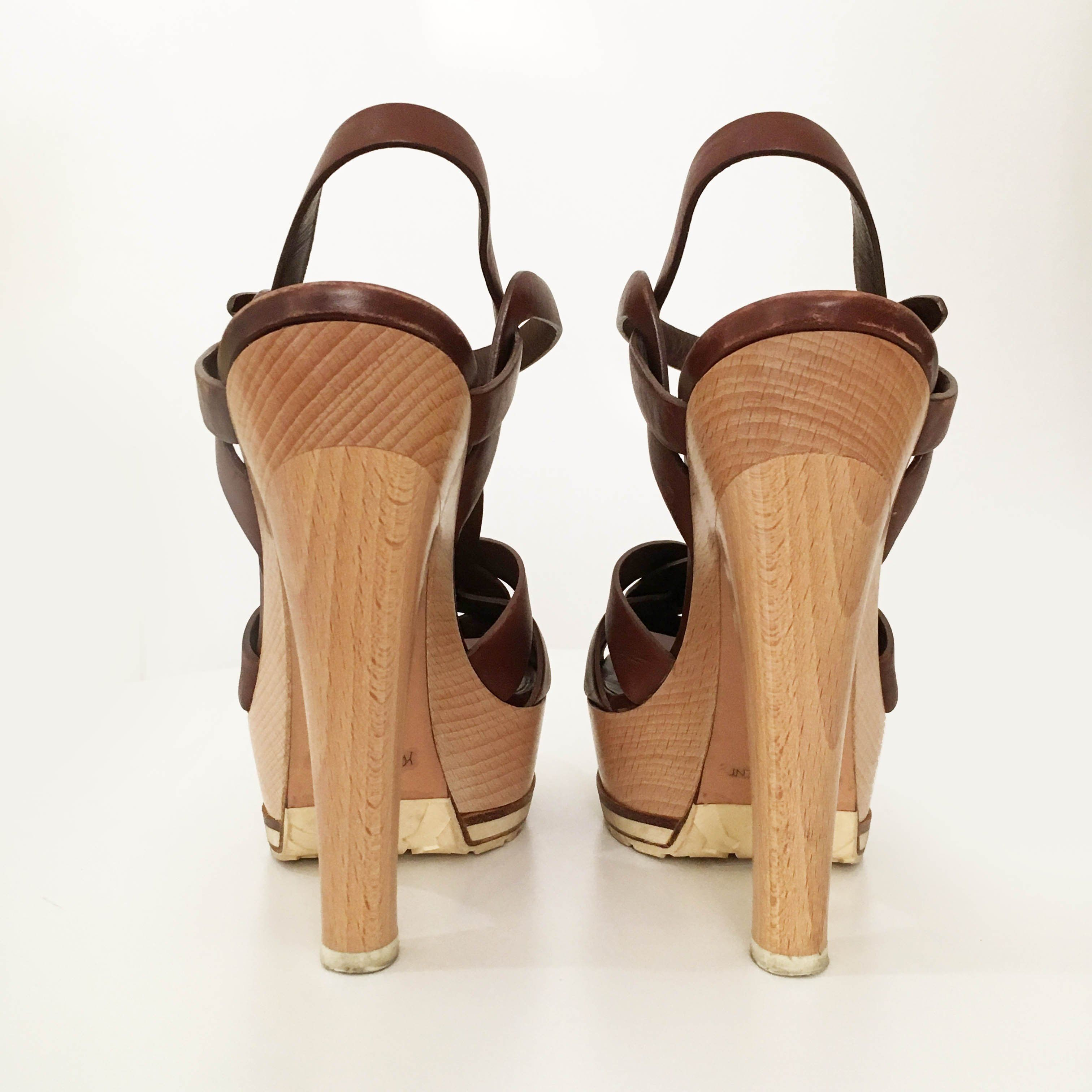 Saint Laurent Tribute Wood and Leather Heels