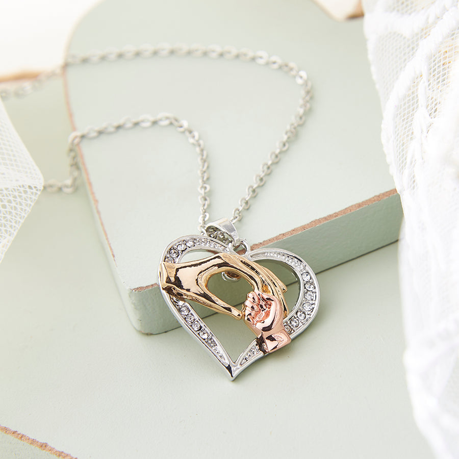 Silver, Gold and Rose Gold Mother & Baby Heart Necklace