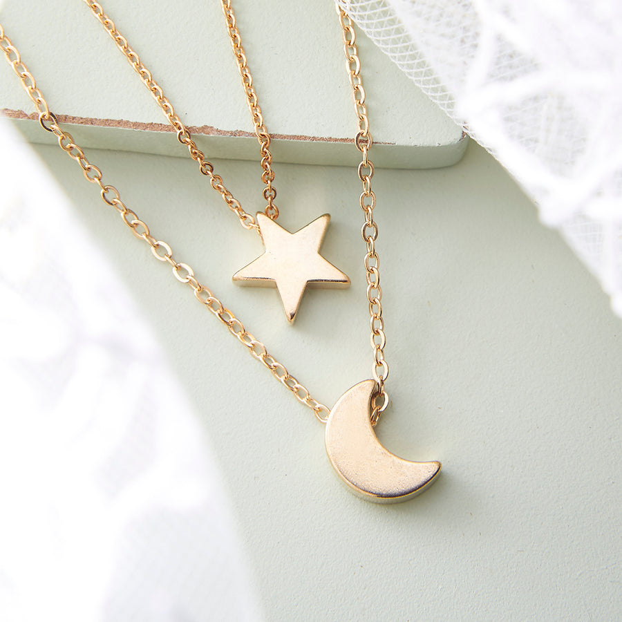 Gold Moon and Star Celestial Layered Necklace